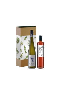 Karácsonyi ajándékcsomag borral és szörppel
