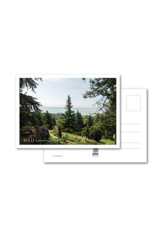 Folly Arborétum képeslap balatoni panorámával